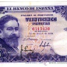 Billetes españoles: 25 PTS 1954 SIN SERIE EBC+. Lote 27134359