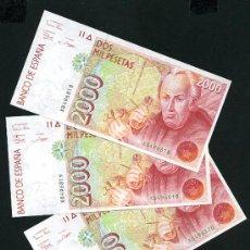 Banconote spagnole: 3 BILLETES , TRIO DE BILLETES DE 2000 PESETAS 1992 , SERIE X , PRIMER MODELO , PLANCHA.. Lote 25067171