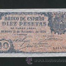 Billetes españoles: RARO 10 PESETAS DE 21 NOVIEMBRE DE 1936 SC O SC- RARO. Lote 26493725