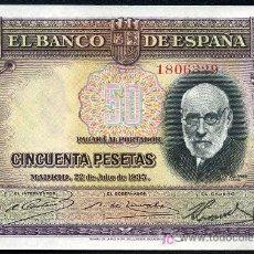 Billetes españoles: 50 PESETAS 1935 SIN SERIE S/C PLANCHA. Lote 26640604