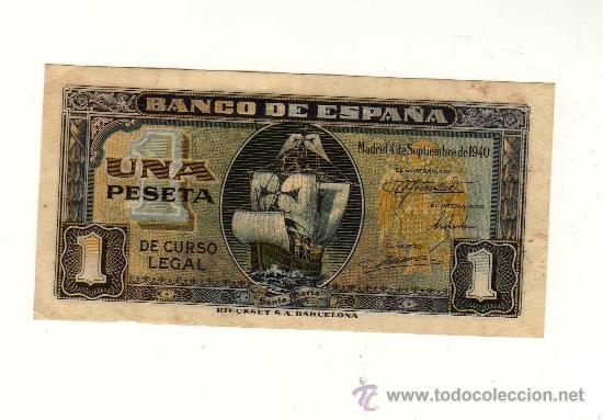 1 PESETA 4 SEPTIEMBRE 1940 EN SERIE E (Numismática - Notafilia - Billetes Españoles)