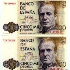 Billetes españoles: 5000 PTS 1979 PAREJA CORRELATIVA PLANCHA. Lote 26868785