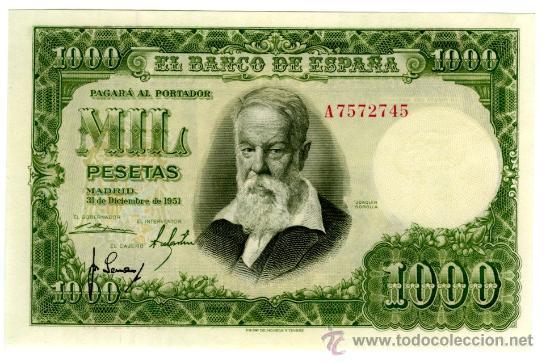 1000 PTS 1951 SERIE A PLANCHA SIN CIRCULAR (Numismática - Notafilia - Billetes Españoles)