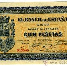 Billetes españoles: 100 PTS GIJON 1937 SIN CIRCULAR PLANCHA. Lote 27333325