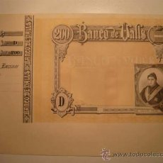 Billetes españoles: BANCO DE VALLS. OBLIGACIÓN. BONO. TARRAGONA. 200 PESETAS. PESSETES. BILLETE. BANC VALLS.OBISPO PALAU. Lote 26683239