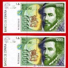 Billetes españoles: PAREJA DE BILLETES 1000 PESETAS 1992 , PLANCHA , SERIE ESPECIAL 9C , T643 644. Lote 26822809