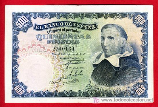 BILLETE 500 PESETAS 1946 FEBRERO , MBC++ , SIN SERIE , T164 (Numismática - Notafilia - Billetes Españoles)