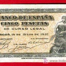 Billetes españoles: BILLETE 5 PESETAS 1937 BURGOS , MBC++ , SERIE B , T876. Lote 26065834