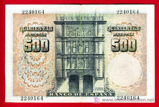 Billetes españoles: BILLETE 500 PESETAS 1946 FEBRERO , MBC++ , SIN SERIE , T164 - Foto 2 - 21798566