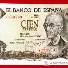 Billetes españoles: BILLETE 100 PESETAS 1970 , MBC++ , SIN SERIE , T533. Lote 26802031