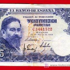 Billetes españoles: BILLETE 25 PESETAS 1954 , MBC+ , SERIE C , T522. Lote 21027482