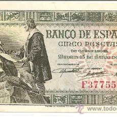 Billetes españoles: BILLETE DE 5PTS. JULIO 1945 SERIE F - ESTADO ESPAÑOL. SIN CIRCULAR PRECIO ESPECIAL COLECCIONISTA ). Lote 26776393