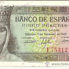 Billetes españoles: BILLETE DE 5PTS.FEBRERO 1943 SERIE F - ESTADO ESPAÑOL, SIN CIRCULAR PRECIO ESPECIAL COLECCIONISTA ). Lote 27121810