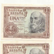 Billetes españoles: DOS BILLETES DE 1 PTA 1953 MARQUES DE SANTA CRUZ PLANCHA CORRELATIVOS SERIE V. Lote 26710602