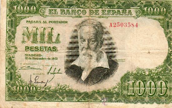 BANCO DE ESPAÑA. 1000 PESETAS. JOAQUIN SOROLLA. SERIE A. 1951. (Numismática - Notafilia - Billetes Españoles)