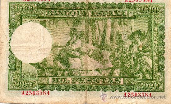 Billetes españoles: BANCO DE ESPAÑA. 1000 PESETAS. JOAQUIN SOROLLA. SERIE A. 1951. - Foto 2 - 27120044