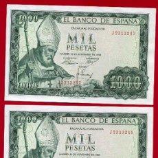 Billetes españoles: PAREJA BILLETES , 1000 PESETAS 1965 , EBC+ , CORRELATIVOS, SERIE J , T247-248. Lote 26842087