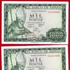 Billetes españoles: PAREJA BILLETES , 1000 PESETAS 1965 , PLANCHA , CORRELATIVOS, SERIE 1E , T696. Lote 26499434