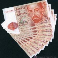Billetes españoles: 10 BILLETES DE 2000 PESETAS 1980 , PLANCHA , SERIE 1C , CORRELATIVOS. Lote 25774012