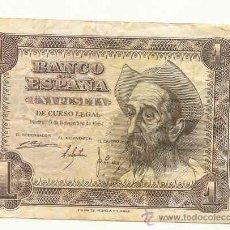 Billetes españoles: BILLETE DE 1 PTA 1951 EL QUIJOTE, SIN SERIE MBC. Lote 29468521
