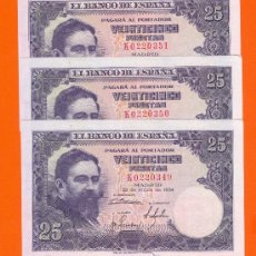Billetes españoles: 25 PTAS. JULIO 1954 EBC+++ SERIE K T349 TRES CORRELATIVOS. Lote 26267266