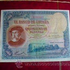 Billetes españoles: 500 PTS......1935.........HERNAN CORTES..........EXCELENTE. Lote 15284297