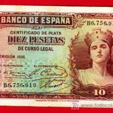 Billetes españoles: BILLETE 10 PESETAS 1935 , MBC+ , SERIE B , T919. Lote 21339495
