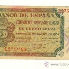 Billetes españoles: MUY BONITO BILLETE CINCO PESETAS BURGOS 10 AGOSTO 1938 SERIE L . Lote 22577969