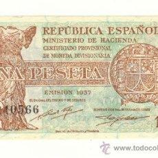 Billetes españoles: SEGUNDA REPUBLICA PRECIOSA PESETA AÑO 1937 SIN CIRCULAR SERIE A. Lote 22577971