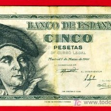Billetes españoles: BILLETE 5 PESETAS 1948 , MBC , SERIE G , T963. Lote 27051047