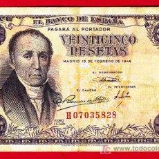 Billetes españoles: BILLETE 25 PESETAS 1946 , BC+ , SERIE H , T828. Lote 21339501
