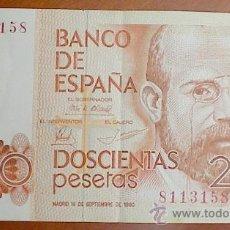 Billetes españoles: BILLETE 200 PTAS 1980 SIN SERIE T158 . Lote 26956936