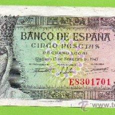Billetes españoles: BANCO DE ESPAÑA. 5 PESETAS. 13 FEBRERO 1943. GRAN APRESTO !!. PRECIOSO............ Lote 27424894