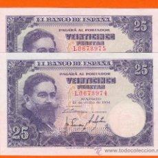Billetes españoles: 25 PTAS. JULIO 1954 EBC+++ SERIE L T974 DOS CORRELATIVOS. Lote 26341413