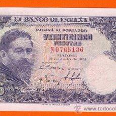 Billetes españoles: 25 PTAS. JULIO 1954 !!!PLANCHA!!! SERIE N T136. Lote 26515590