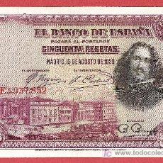 Billetes españoles: 1928 BILLETE DE 50 PESETAS VELÁZQUEZ. Lote 14808200