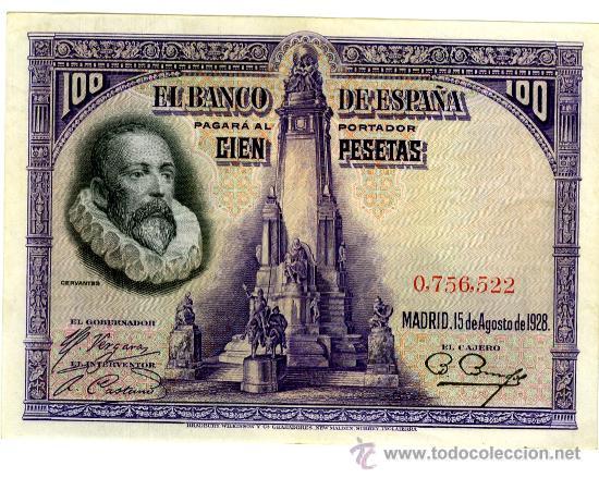100 PESETAS 15 AGOSTO 1928 SIN CIRCULAR EBC+ SIN SERIE (Numismática - Notafilia - Billetes Españoles)