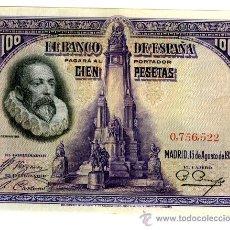 Billetes españoles: 100 PESETAS 15 AGOSTO 1928 SIN CIRCULAR EBC+ SIN SERIE . Lote 26786539