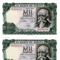 Billetes españoles: 1000 PESETAS 1971 PAREJA CORRELATIVA SIN CIRCULAR PLANCHA LUJO SERIE 3Q. Lote 26868784