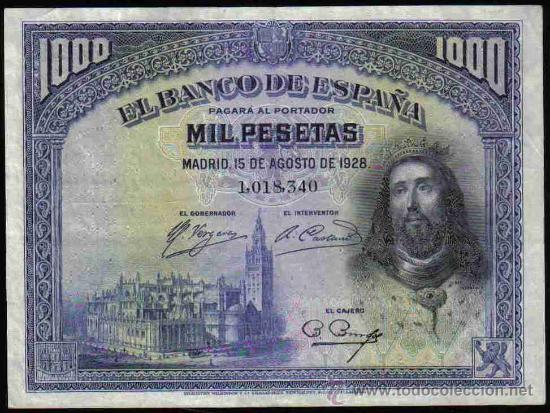 BILLETE DE 1000 PESETAS DE 15 AGOSTO DE 1928 EBC (Numismática - Notafilia - Billetes Españoles)