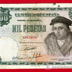 Billetes españoles: BILLETE 1000 PESETAS 1946 , MBC , SIN SERIE , T050. Lote 24738060