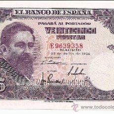 Billetes españoles: BILLETE CADA VEZ MÁS ESCASO 25 PTS. 22 DE JULIO 1954 MADRID SERIE E 9639358 TOTALMENTE PLANCHA. Lote 27094970