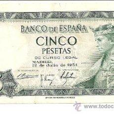 Billetes españoles: BILLETE CADA VEZ MÁS ESCASO 5 PTS. 22 DE JULIO 1954 MADRID SIN SERIE 1376204 EXCELENTE CONSERVACION. Lote 26794871