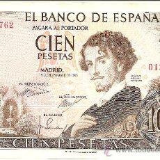 Billetes españoles: BILLETE CADA VEZ MÁS ESCASO 100 PTS. 19 DE NOVIEMBRE 1965 MADRID SIN SERIE 0120762 (Nº BAJO) EBC+. Lote 26776394