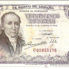 Billetes españoles: BILLETE CADA VEZ MÁS ESCASO 25 PTS 19 DE FEBRERO 1946 MADRID SERIE C-02655176 PRECIO ESPECIAL EBC-. Lote 27121807
