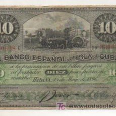 Billetes españoles: EL BANCO ESPAÑOL DE LA ISLA DE CUBA. 10 PESOS FUERTES EN METÁLICO. HABANA, 1896.. Lote 15444418
