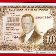 Billetes españoles: BILLETE 100 PESETAS 1953 , MBC++ , SERIE 2H , T450. Lote 23261860