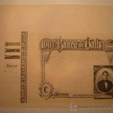 Billetes españoles: BANCO VALLS.BANC VALLS.TARRAGONA.OBLIGACIÓN. CIRCULÓ COMO BILLETE. PLANTILLA.100 PESETAS.VALLGORNERA. Lote 26345003