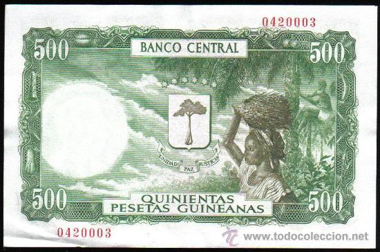 Billetes españoles: Billete 500 pesetas Guinea Española, CON SELLO - Foto 2 - 26620547