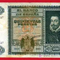 Billetes españoles: BILLETE 500 PESETAS 1940 ENERO , MBC , SERIE A , T597. Lote 24874486